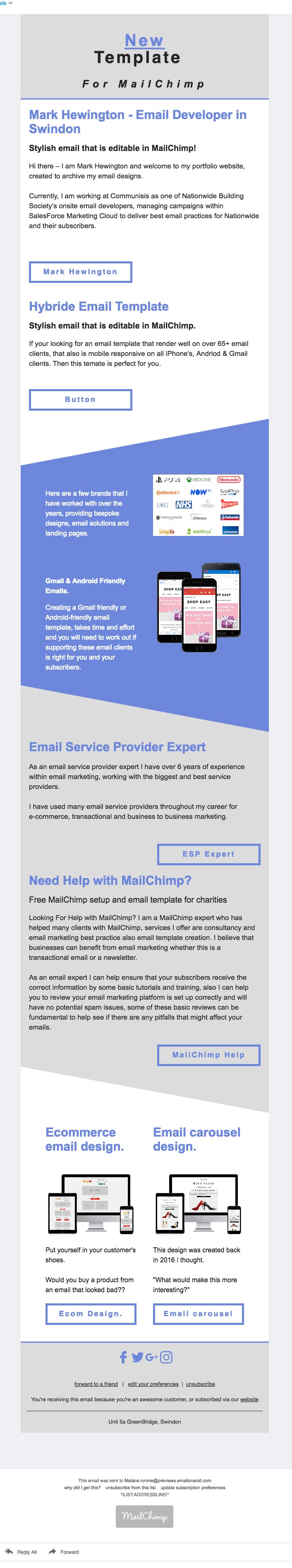 Editable MailChimp Email Template for AOL web clients