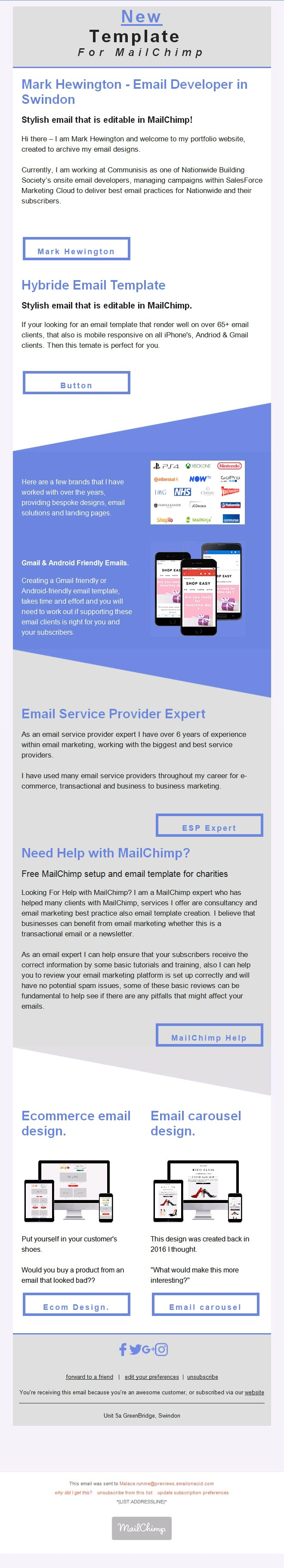 Editable MailChimp Email Template designs for Outlook