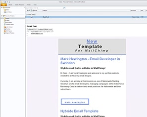 Editable MailChimp Email Template design for Outlook 2010 windows 7