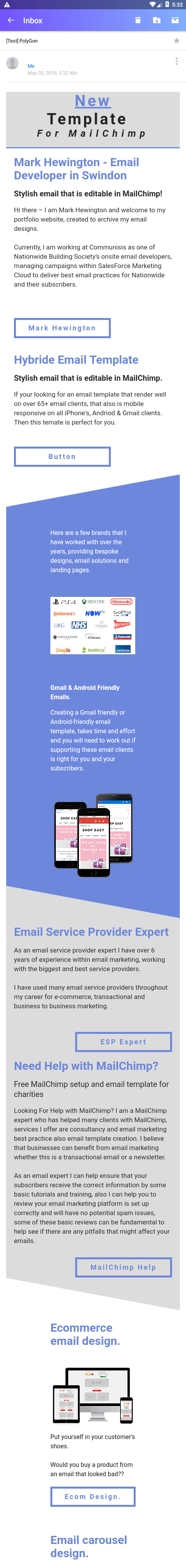 Editable MailChimp Email Template for Yahoo Android 7 version