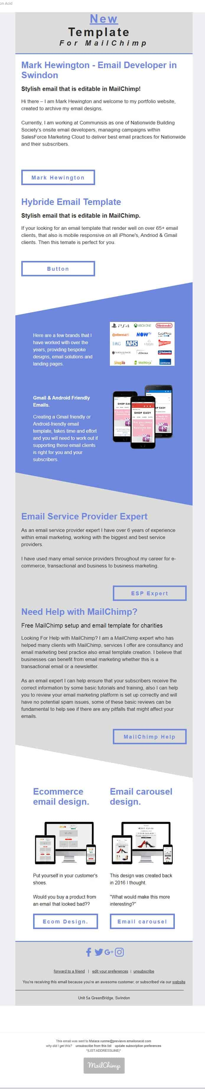 Editable MailChimp Email Template design for Yahoo email clients
