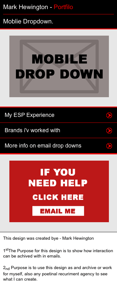 Interactive Email drop down menu - mobile version