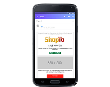 E-commerce email for Pixel Android
